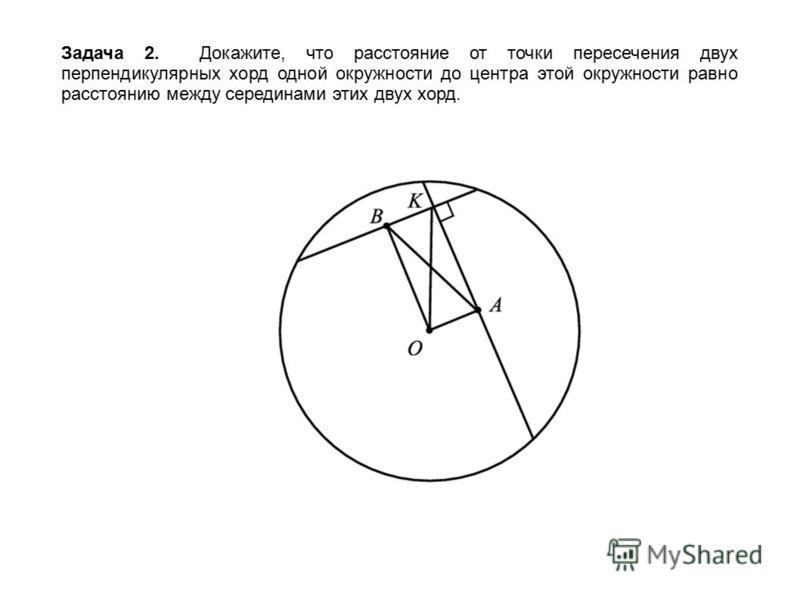 Задача 2. Докажите, что расстояние от точки пересечения двух перпендикулярных хорд одной окружности до центра этой окружности равно расстоянию между серединами этих двух хорд.