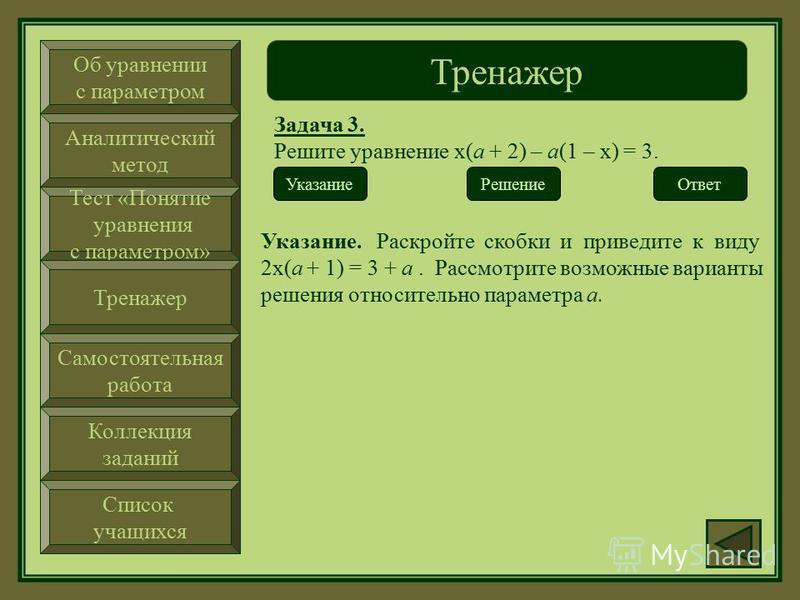 Об уравнении с параметром Аналитический метод Тест «Понятие уравнения с параметром» Тренажер Самостоятельная работа Коллекция заданий Список учащихся Тренажер Задача 3. Решите уравнение х(а + 2) – а(1 – х) = 3. Ответ Решение Указание
