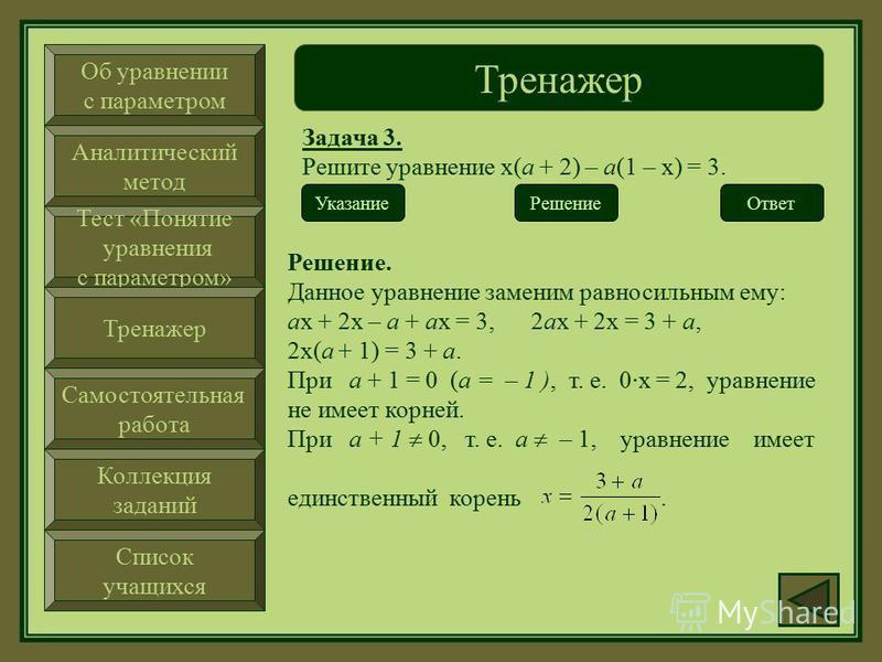 Об уравнении с параметром Аналитический метод Тест «Понятие уравнения с параметром» Тренажер Самостоятельная работа Коллекция заданий Список учащихся Тренажер Задача 3. Решите уравнение х(а + 2) – а(1 – х) = 3. Ответ Указание. Раскройте скобки и прив