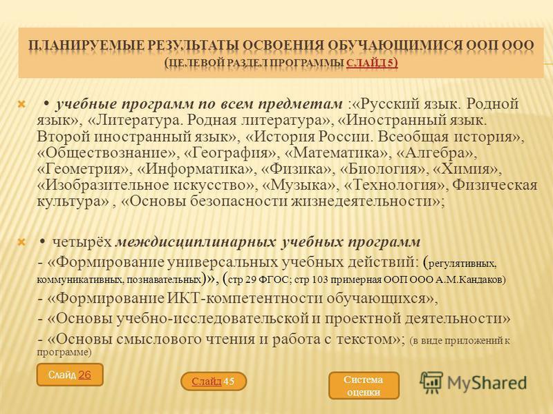учебные программ по всем предметам :«Русский язык. Родной язык», «Литература. Родная литература», «Иностранный язык. Второй иностранный язык», «История России. Всеобщая история», «Обществознание», «География», «Математика», «Алгебра», «Геометрия», «И