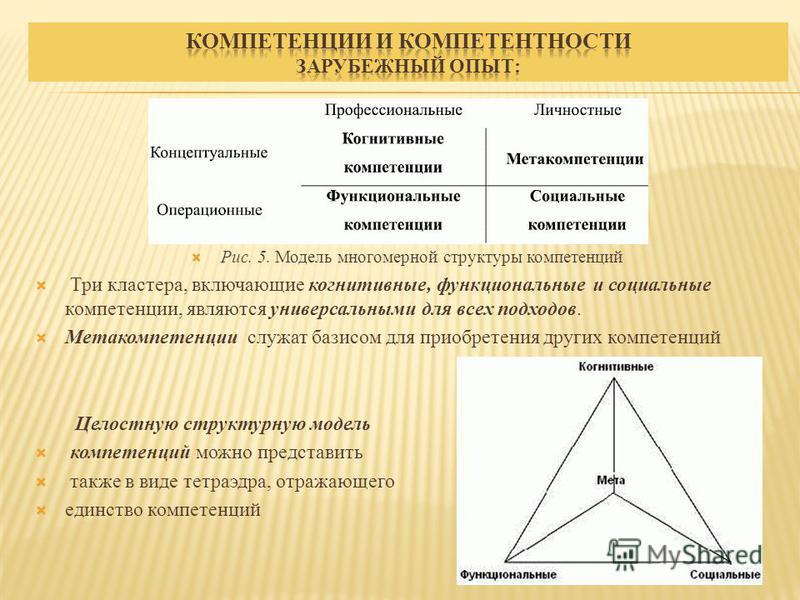 Рис. 5. Модель многомерной структуры компетенций Три кластера, включающие когнитивные, функциональные и социальные компетенции, являются универсальными для всех подходов. Метакомпетенции служат базисом для приобретения других компетенций Целостную ст