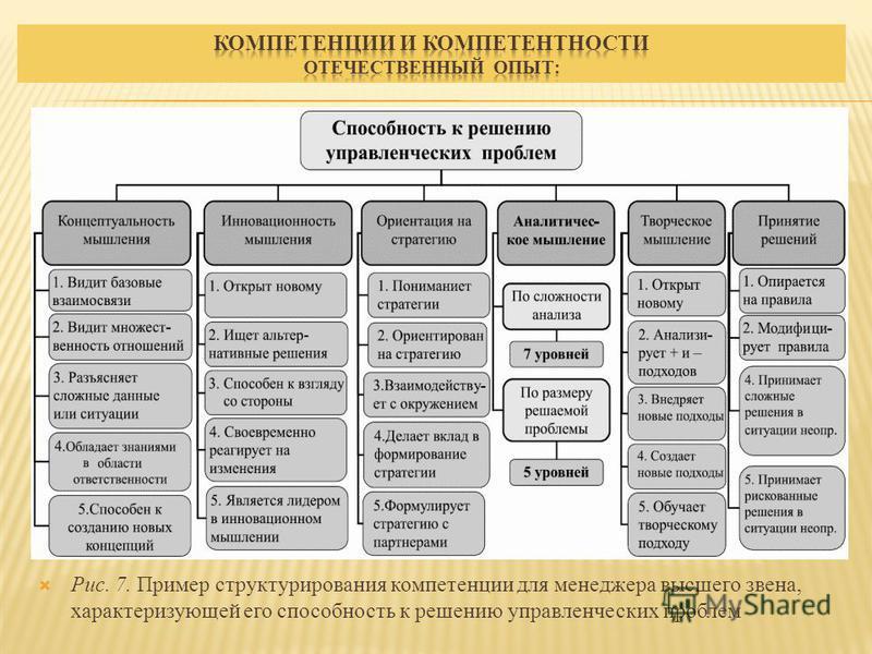 Рис. 7. Пример структурирования компетенции для менеджера высшего звена, характеризующей его способность к решению управленческих проблем