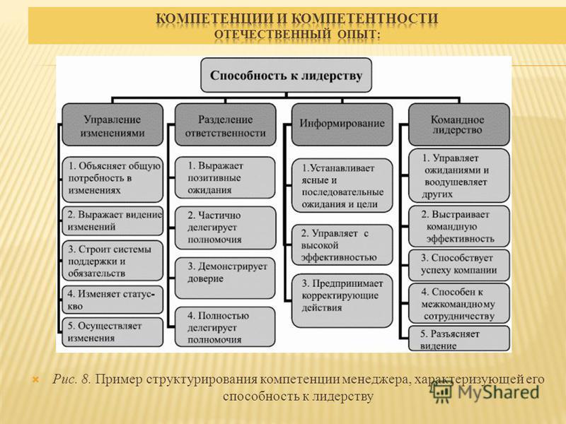 Рис. 8. Пример структурирования компетенции менеджера, характеризующей его способность к лидерству