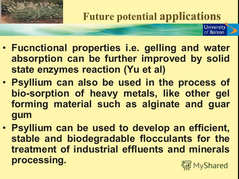 Future potential applications Fucnctional properties i.e. gelling and water absorption can be further improved by solid state enzymes reaction (Yu et al) Psyllium can also be used in the process of bio-sorption of heavy metals, like other gel forming