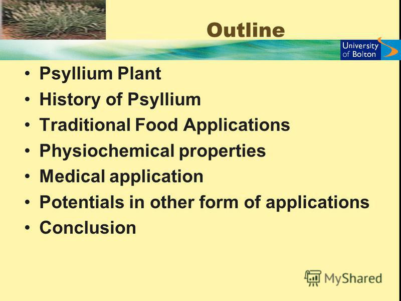 Outline Psyllium Plant History of Psyllium Traditional Food Applications Physiochemical properties Medical application Potentials in other form of applications Conclusion