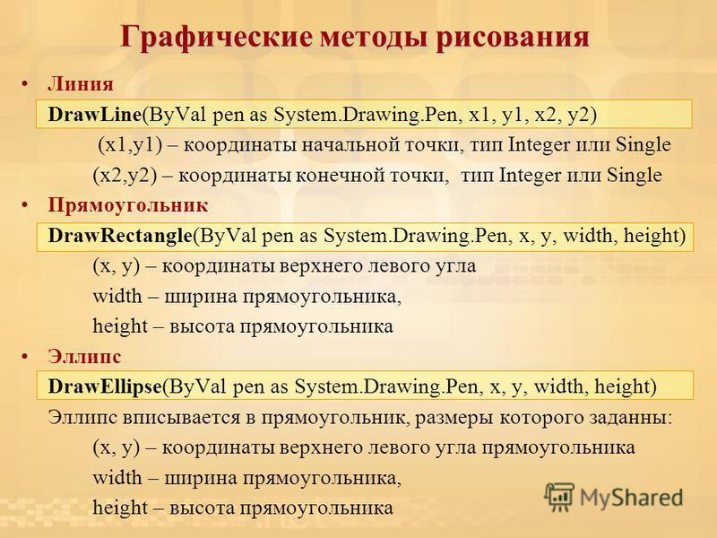 Графические методы рисования Линия DrawLine(ByVal pen as System.Drawing.Pen, x1, y1, x2, y2) (x1,y1) – координаты начальной точки, тип Integer или Single (x2,y2) – координаты конечной точки, тип Integer или Single Прямоугольник DrawRectangle(ByVal pe
