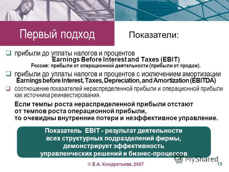 Показатель EBIT - результат деятельности всех структурных подразделений фирмы, демонстрирует эффективность управленческих решений и бизнес-процессов Первый подход прибыли до уплаты налогов и процентов Earnings Before Interest and Taxes (EBIT) Россия: