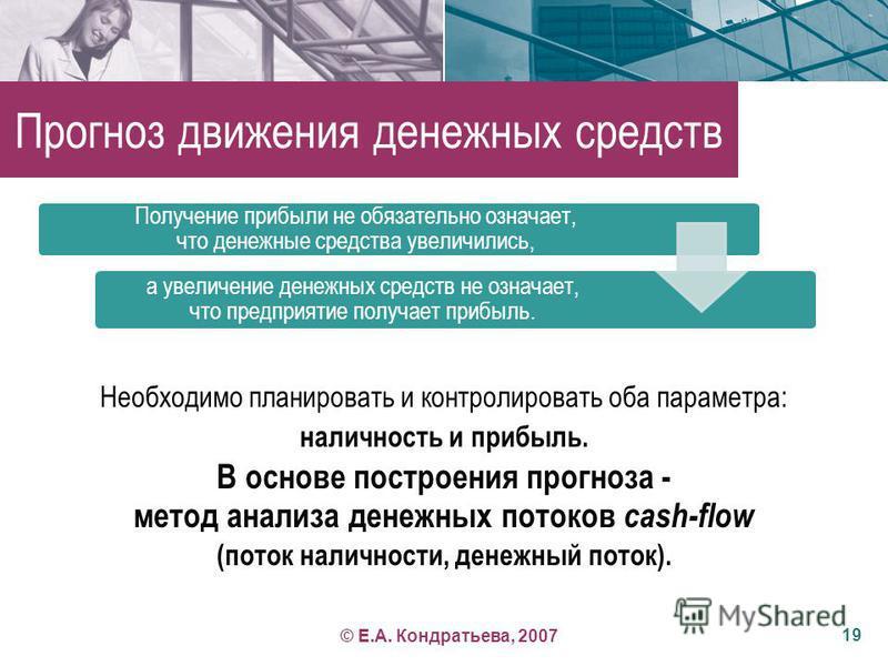 Прогноз движения денежных средств Необходимо планировать и контролировать оба параметра: наличность и прибыль. В основе построения прогноза - метод анализа денежных потоков cash-flow (поток наличности, денежный поток). 19 Получение прибыли не обязате