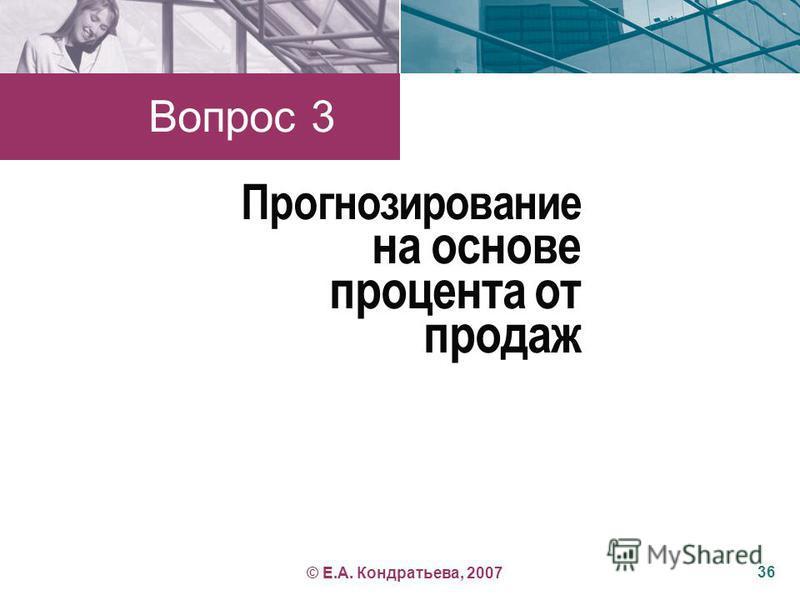 Прогнозирование на основе процента от продаж Вопрос 3 36 © Е.А. Кондратьева, 2007