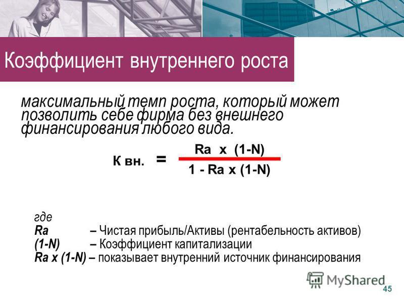 где Rа – Чистая прибыль/Активы (рентабельность активов) (1-N) – Коэффициент капитализации Rа х (1-N) – показывает внутренний источник финансирования К вн. = Rа х (1-N) 1 - Rа х (1-N) 45 Коэффициент внутреннего роста максимальный темп роста, который м