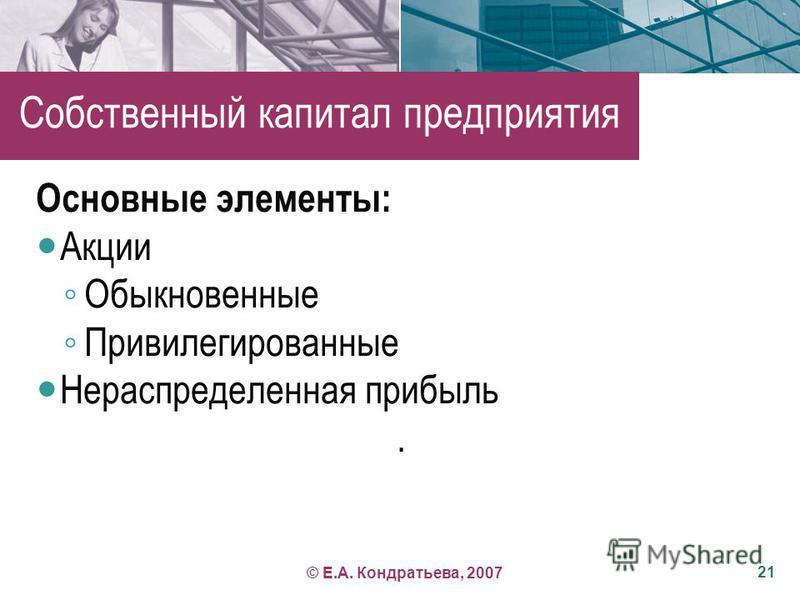 Вопрос 3 Порядок определения стоимости собственного капитала 20 © Е.А. Кондратьева, 2007