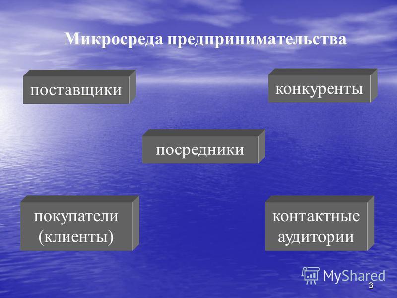 3 Микросреда предпринимательства поставщики посредники покупатели (клиенты) конкуренты контактные аудитории