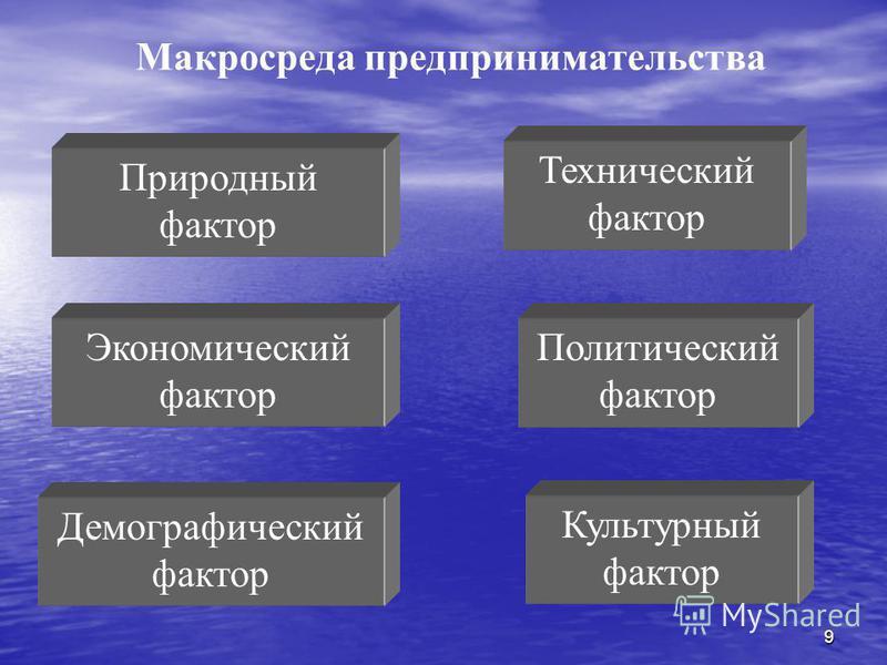 9 Макросреда предпринимательства Природный фактор Технический фактор Политический фактор Экономический фактор Культурный фактор Демографический фактор
