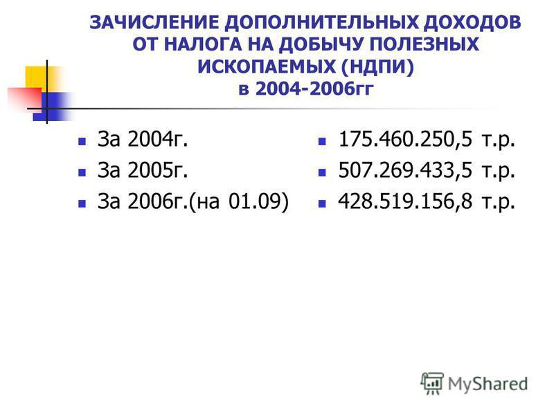 ЗАЧИСЛЕНИЕ ДОПОЛНИТЕЛЬНЫХ ДОХОДОВ ОТ НАЛОГА НА ДОБЫЧУ ПОЛЕЗНЫХ ИСКОПАЕМЫХ (НДПИ) в 2004-2006 гг За 2004 г. За 2005 г. За 2006 г.(на 01.09) 175.460.250,5 т.р. 507.269.433,5 т.р. 428.519.156,8 т.р.