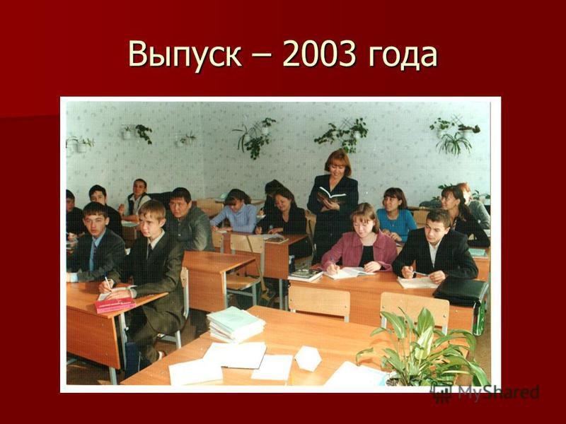 Выпуск – 2003 года