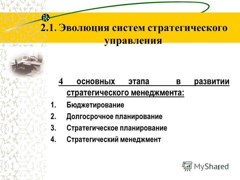 3 2.1. Эволюция систем стратегического управления 4 основных этапа в развитии стратегического менеджмента: 1. Бюджетирование 2. Долгосрочное планирование 3. Стратегическое планирование 4. Стратегический менеджмент
