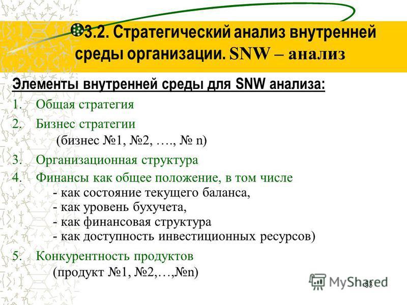 53 3.2. Стратегический анализ внутренней среды организации. SNW – анализ Элементы внутренней среды для SNW анализа: 1. Общая стратегия 2. Бизнес стратегии (бизнес 1, 2, …., n) 3. Организационная структура 4. Финансы как общее положение, в том числе -