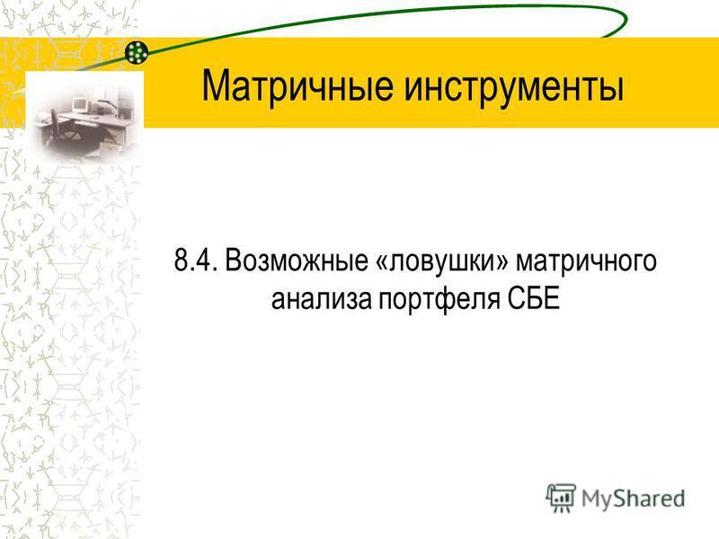 Матричные инструменты 8.4. Возможные «ловушки» матричного анализа портфеля СБЕ