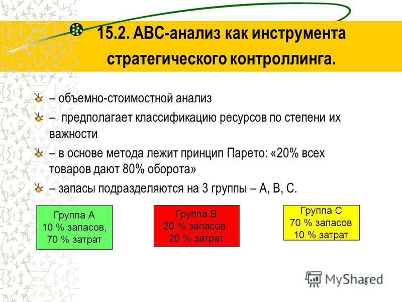 8 15.2. ABC-анализ как инструмента стратегического контроллинга. – объемно-стоимостной анализ – предполагает классификацию ресурсов по степени их важности – в основе метода лежит принцип Парето: «20% всех товаров дают 80% оборота» – запасы подразделя