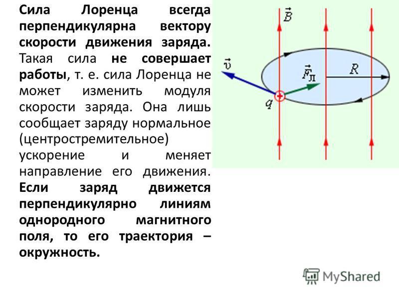 Сила Лоренца всегда перпендикулярна вектору скорости движения заряда. Такая сила не совершает работы, т. е. сила Лоренца не может изменить модуля скорости заряда. Она лишь сообщает заряду нормальное (центростремительное) ускорение и меняет направлени