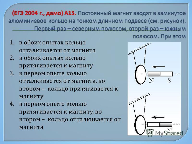 1. в обоих опытах кольцо отталкивается от магнита 2. в обоих опытах кольцо притягивается к магниту 3. в первом опыте кольцо отталкивается от магнита, во втором – кольцо притягивается к магниту 4. в первом опыте кольцо притягивается к магниту, во втор