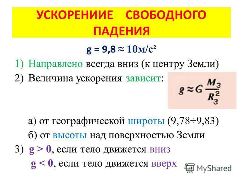 УСКОРЕНИИЕ СВОБОДНОГО ПАДЕНИЯ g = 9,8 10 м/с² 1)Направлено всегда вниз (к центру Земли) 2)Величина ускорения зависит: а) от географической широты (9,78÷9,83) б) от высоты над поверхностью Земли 3) g > 0, если тело движется вниз g < 0, если тело движе