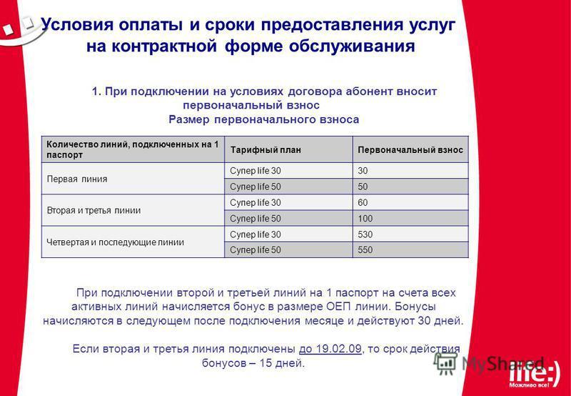 Условия оплаты и сроки предоставления услуг на контрактной форме обслуживания 1. При подключении на условиях договора абонент вносит первоначальный взнос Размер первоначального взноса При подключении второй и третьей линий на 1 паспорт на счета всех