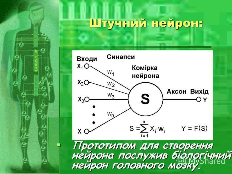 Штучний нейрон: Прототипом для створення нейрона послужив біологічний нейрон головного мозку. Прототипом для створення нейрона послужив біологічний нейрон головного мозку.