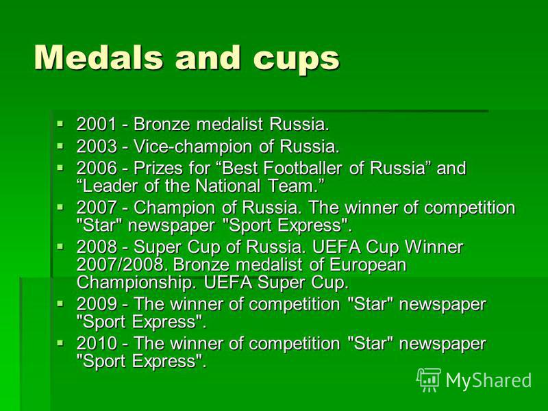 Medals and cups 2001 - Bronze medalist Russia. 2003 - Vice-champion of Russia. 2006 - Prizes for Best Footballer of Russia and Leader of the National Team. 2007 - Champion of Russia. The winner of competition