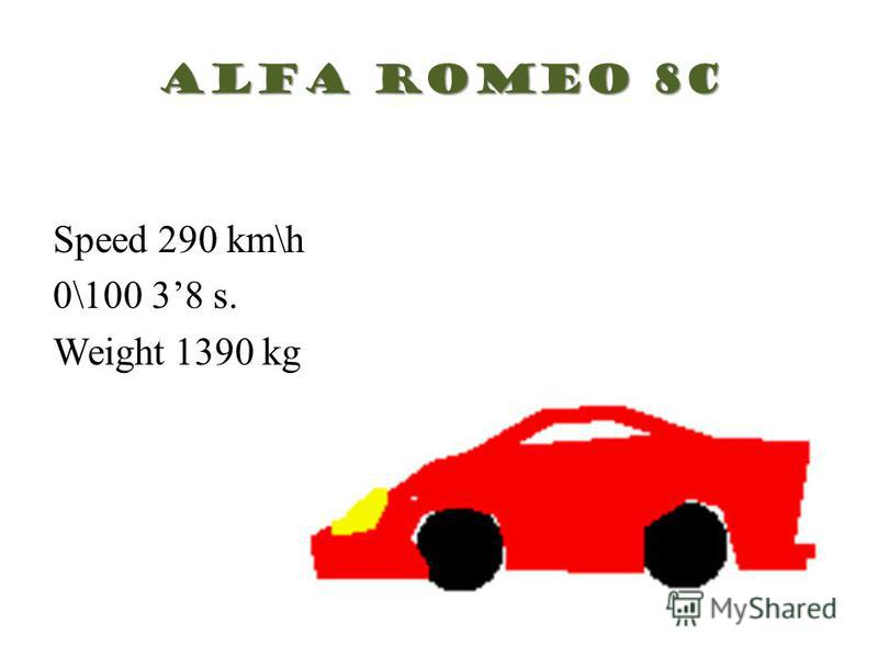 Alfa Romeo 8c Speed 290 km\h 0\100 38 s. Weight 1390 kg