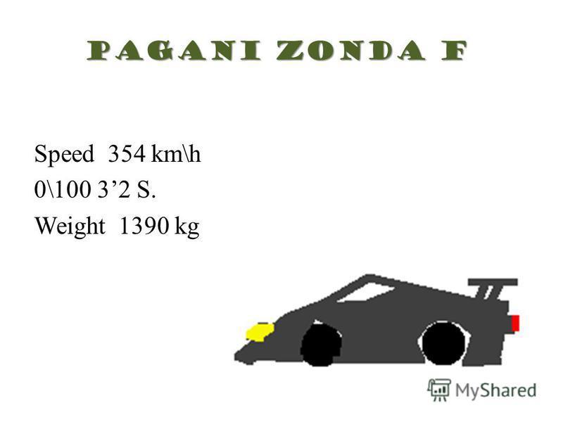 Pagani Zonda F Speed 354 km\h 0\100 32 S. Weight 1390 kg