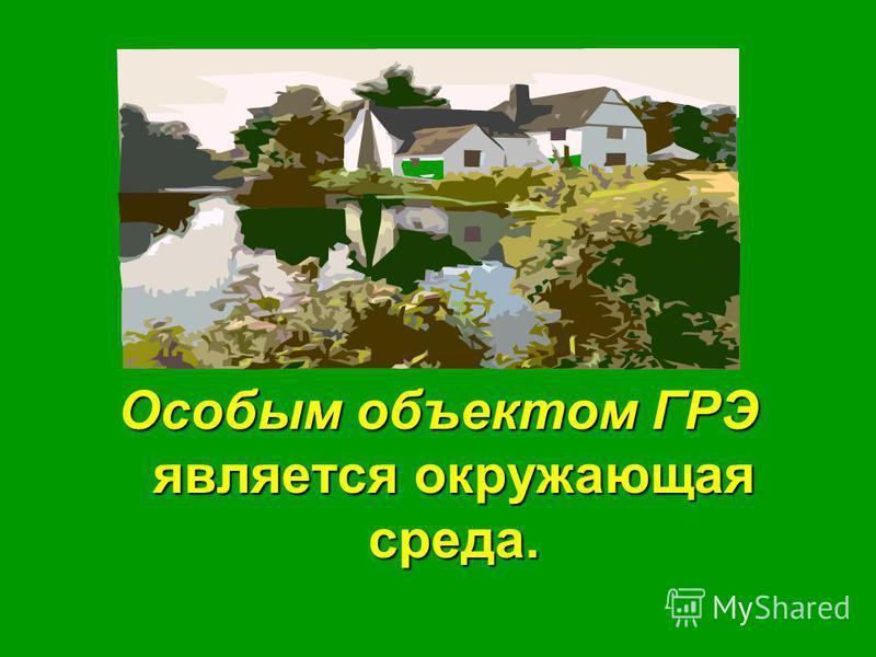 Особым объектом ГРЭ является окружающая среда.