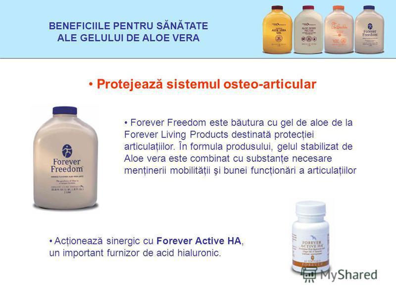 Protejează sistemul osteo-articular Forever Freedom este băutura cu gel de aloe de la Forever Living Products destinată protecţiei articulaţiilor. În formula produsului, gelul stabilizat de Aloe vera este combinat cu substanţe necesare menţinerii mob