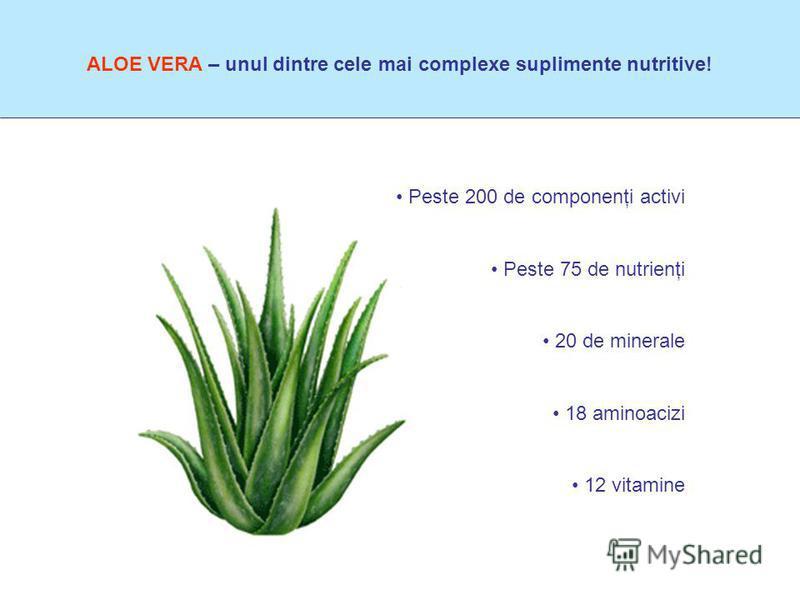 ALOE VERA – unul dintre cele mai complexe suplimente nutritive! Peste 200 de componenţi activi Peste 75 de nutrienţi 20 de minerale 18 aminoacizi 12 vitamine