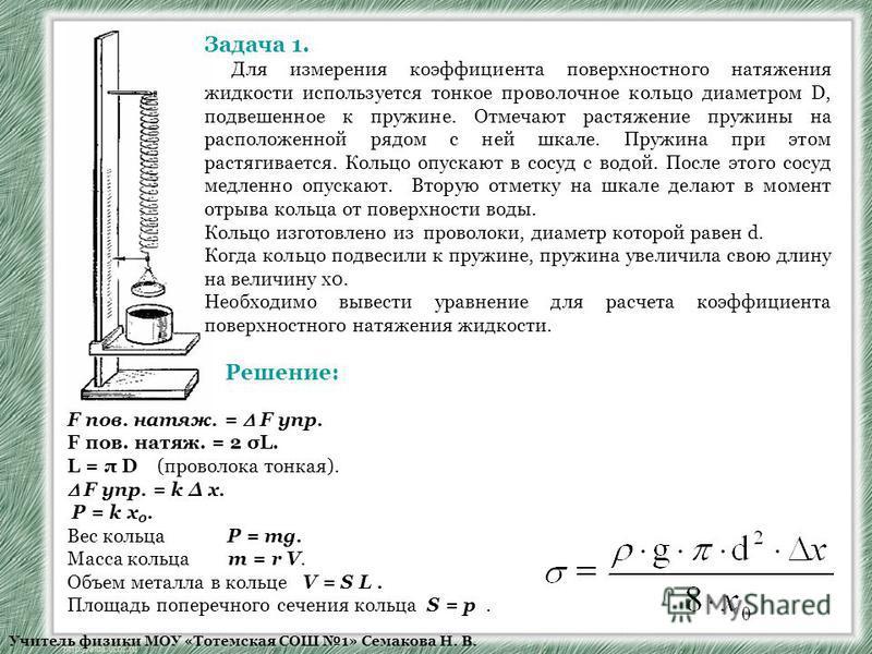 Учитель физики МОУ «Тотемская СОШ 1» Семакова Н. В. Задача 1. Для измерения коэффициента поверхностного натяжения жидкости используется тонкое проволочное кольцо диаметром D, подвешенное к пружине. Отмечают растяжение пружины на расположенной рядом с