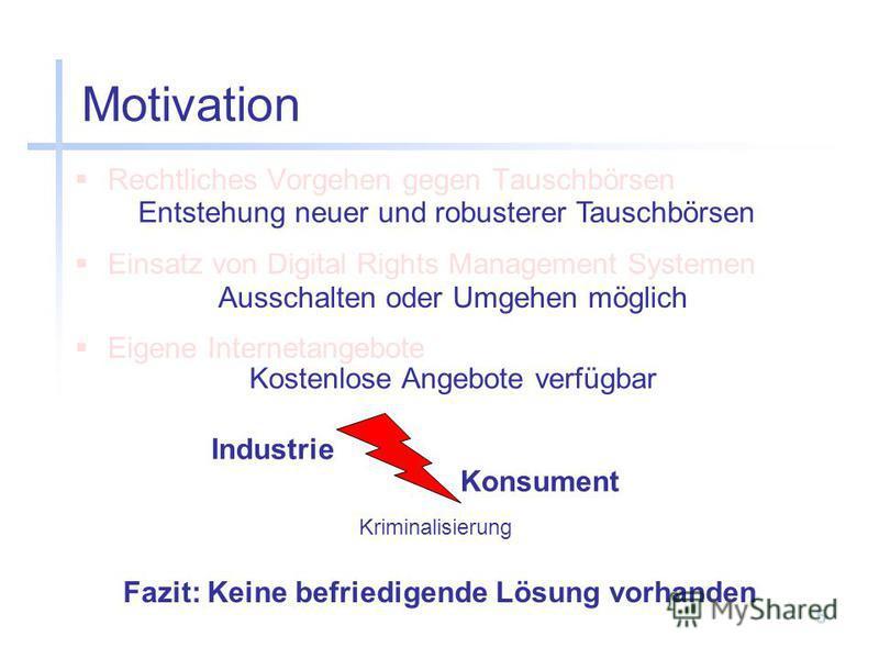 5 Motivation Rechtliches Vorgehen gegen Tauschbörsen Einsatz von Digital Rights Management Systemen Eigene Internetangebote Entstehung neuer und robusterer Tauschbörsen Ausschalten oder Umgehen möglich Kostenlose Angebote verfügbar Fazit: Keine befri