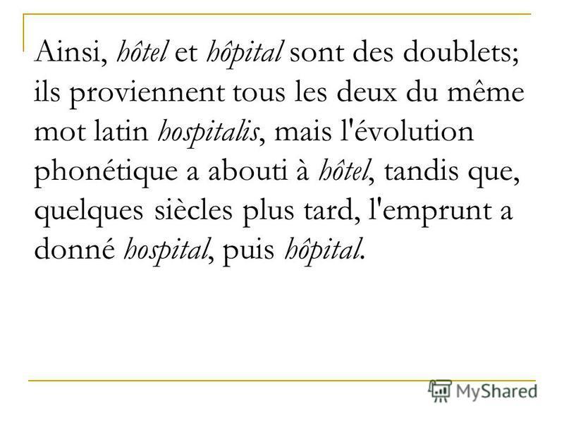 Ainsi, hôtel et hôpital sont des doublets; ils proviennent tous les deux du même mot latin hospitalis, mais l'évolution phonétique a abouti à hôtel, tandis que, quelques siècles plus tard, l'emprunt a donné hospital, puis hôpital.