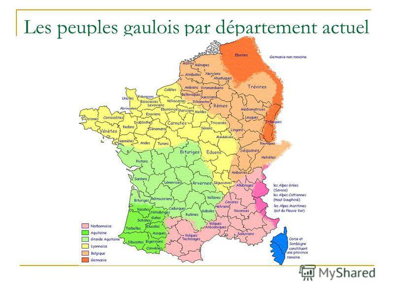 Les peuples gaulois par département actuel