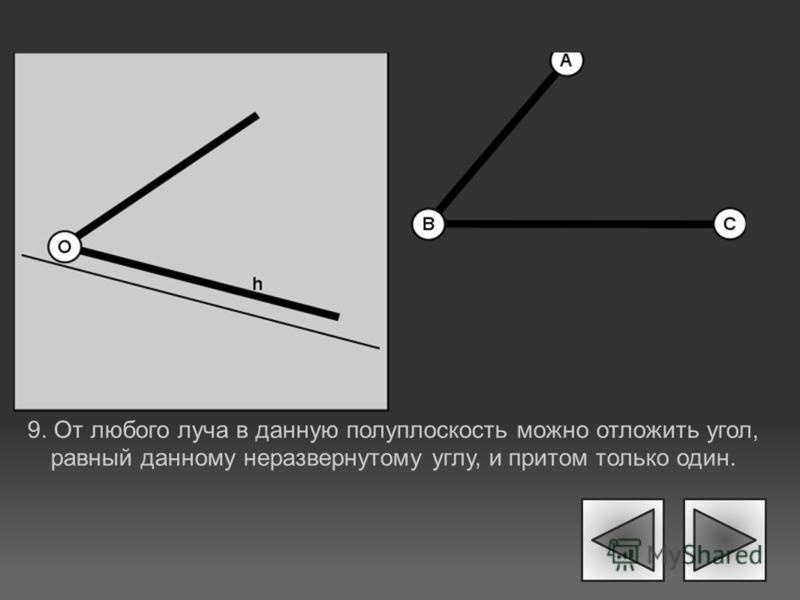 9. От любого луча в данную полуплоскость можно отложить угол, равный данному неразвернутому углу, и притом только один.