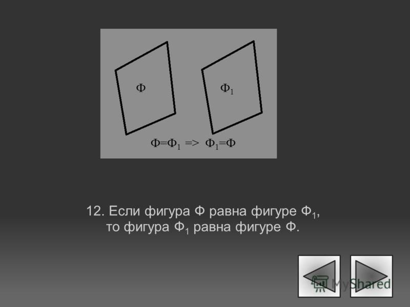 12. Если фигура Ф равна фигуре Ф 1, то фигура Ф 1 равна фигуре Ф. ФФ1Ф1 Ф=Ф 1 => Ф 1 =Ф