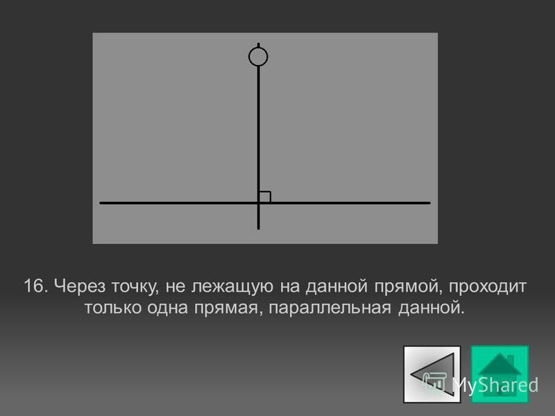 16. Через точку, не лежащую на данной прямой, проходит только одна прямая, параллельная данной.