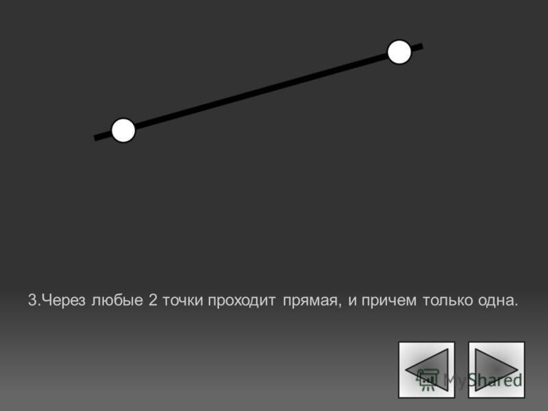 3. Через любые 2 точки проходит прямая, и причем только одна.