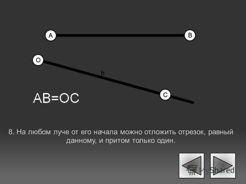 8. На любом луче от его начала можно отложить отрезок, равный данному, и притом только один.