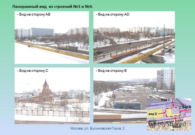 Москва, ул. Бусиновская Горка, 2 Панорамный вид из строений 3 и 4. - Вид на сторону AB - Вид на сторону AD - Вид на сторону C - Вид на сторону B вид D Вид A Вид B Вид C