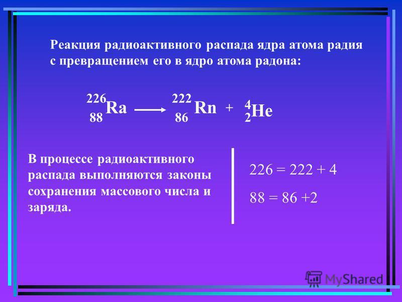 Реакция радиоактивного распада ядра атома радия с превращением его в ядро атома радона: 222 286 RnRa 88 226 + He 4 В процессе радиоактивного распада выполняются законы сохранения массового числа и заряда. 226 = 222 + 4 88 = 86 +2