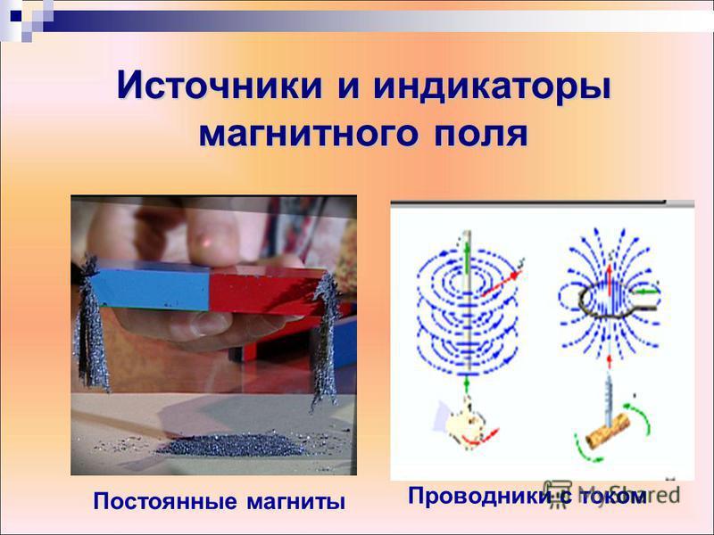 Источники и индикаторы магнитного поля Постоянные магниты Проводники с током