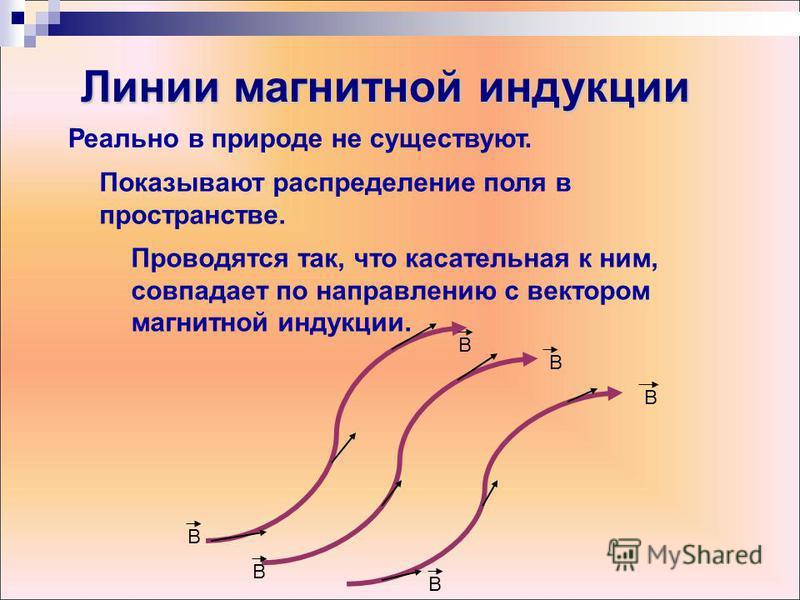 Реально в природе не существуют. Показывают распределение поля в пространстве. Проводятся так, что касательная к ним, совпадает по направлению с вектором магнитной индукции. В В В В В В Линии магнитной индукции