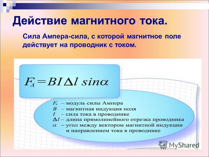 Действие магнитного тока. Сила Ампера-сила, с которой магнитное поле действует на проводник с током.