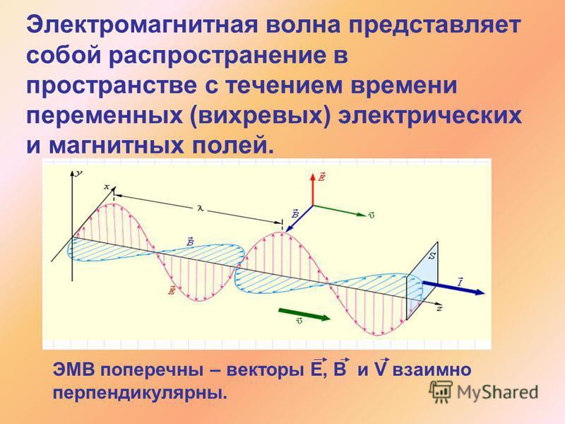 Электромагнитная волна представляет собой распространение в пространстве с течением времени переменных (вихревых) электрических и магнитных полей. ЭМВ поперечны – векторы Е, В и V взаимно перпендикулярны.