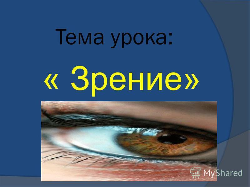 Тема урока: « Зрение»